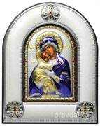 Владимирская Божья Матерь, серебряная икона в киоте со стеклом, цветная эмаль