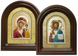 Венчальная пара, серебряная икона в деревянном киоте, золочение, цветная эмаль (Казанская)