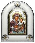 Иерусалимская Божья Матерь, серебряная икона в киоте со стеклом, цветная эмаль