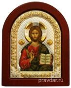Спас Премудрый, икона шелкография, деревянный оклад, серебряная рамка