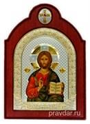 Спас Премудрый, икона шелкография, деревянный оклад с крестом, серебряная рамка