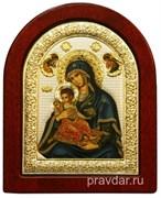 Керкира Божья Матерь, икона шелкография, деревянный оклад, серебряная рамка (синие ризы)