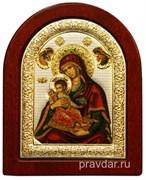 Керкира Божья Матерь, икона шелкография, деревянный оклад, серебряная рамка (красная риза)