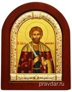 Александр Невский, икона шелкография, деревянный оклад, серебряная рамка