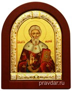 Андрей Святой, икона шелкография, деревянный оклад, серебряная рамка