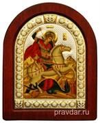 Георгий Победоносец, икона шелкография, деревянный оклад, серебряная рамка