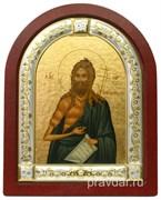 Иоанн Предтеча, икона шелкография, деревянный оклад, серебряная рамка