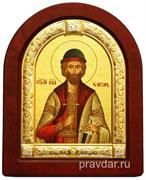 Игорь Святой князь, икона шелкография, деревянный оклад, серебряная рамка