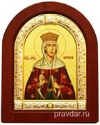 Ирина Святая Великомученица, икона шелкография, деревянный оклад, серебряная рамка