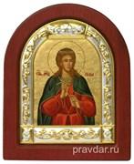 Иулия Святая, икона шелкография, деревянный оклад, серебряная рамка