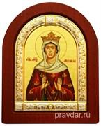 Людмила Чешская, икона шелкография, деревянный оклад, серебряная рамка