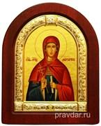 Маргарита Святая, икона шелкография, деревянный оклад, серебряная рамка