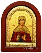 Марина Святая, икона шелкография, деревянный оклад, серебряная рамка