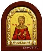 Наталия Святая, икона шелкография, деревянный оклад, серебряная рамка