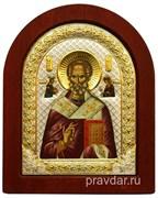 Николай Чудотворец, икона шелкография, деревянный оклад, серебряная рамка