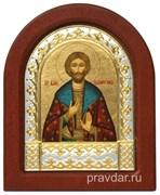 Олег Святой князь, икона шелкография, деревянный оклад, серебряная рамка