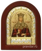 Ольга Святая равноапостольная, икона шелкография, деревянный оклад, серебряная рамка