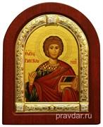 Пантелеймон целитель Великомученик, икона шелкография, деревянный оклад, серебряная рамка