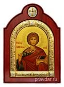 Пантелеймон целитель Великомученик, икона шелкография, деревянный оклад с крестом, серебряная рамка