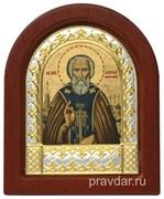 Сергий Радонежский, икона шелкография, деревянный оклад, серебряная рамка