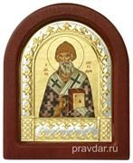 Спиридон Тримифунтский, икона шелкография, деревянный оклад, серебряная рамка