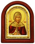 Фотиния Святая мученица, икона шелкография, деревянный оклад, серебряная рамка