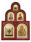 """Иконостас """"Древо Жизни"""", иконы шелкография, деревянный оклад, серебряная рамка"""