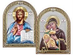 Венчальная пара серебряные иконы с позолотой и цветной эмалью (Владимирская)