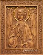 Ангел Хранитель, резная икона на дубовой цельноламельной доске