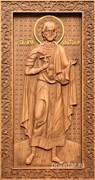 Анатолий Святой, резная икона на дубовой цельноламельной доске (ростовая)