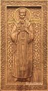 Дмитрий Ростовский, резная икона на дубовой цельноламельной доске (ростовая)