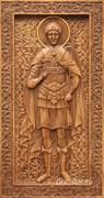 Дмитрий Солунский, резная икона на дубовой цельноламельной доске (ростовая)