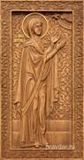 Анна Пророчица, резная икона на дубовой цельноламельной доске (ростовая)