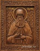Вадим Святой Преподобный, резная икона на дубовой цельноламельной доске