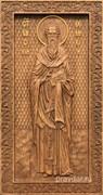 Василий Великий, резная икона на дубовой цельноламельной доске (ростовая)
