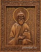 Даниил Московский, резная икона на дубовой цельноламельной доске