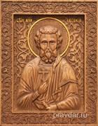 Евгений Святой, резная икона на дубовой цельноламельной доске