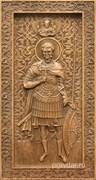 Евгений Святой, резная икона на дубовой цельноламельной доске (ростовая)