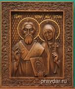 Киприан и Устиния, резная икона на дубовой цельноламельной доске