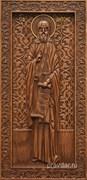 Антоний Великий, резная икона на дубовой цельноламельной доске (ростовая)