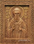 Арсений Сербский, резная икона на дубовой цельноламельной доске