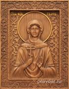 Галина Святая мученица, резная икона на дубовой цельноламельной доске