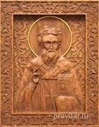 Дионисий Святой, резная икона на дубовой цельноламельной доске