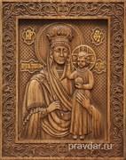 Призри на смирение Божия Матерь, резная икона на дубовой цельноламельной доске