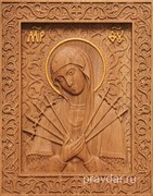 Семистрельная Божия Матерь, резная икона на дубовой цельноламельной доске