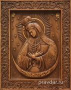 Остробрамская Божия Матерь, резная икона на дубовой цельноламельной доске