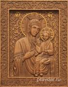 Избавительница Божия Матерь, резная икона на дубовой цельноламельной доске
