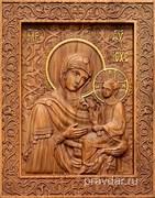 Тихвинская Божия Матерь, резная икона на дубовой цельноламельной доске