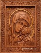 Касперовская Божия Матерь, резная икона на дубовой цельноламельной доске