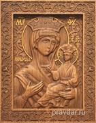 Всеблаженная Божия Матерь, резная икона на дубовой цельноламельной доске